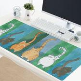 電腦桌墊 可愛貓咪 創意撞色滑鼠墊 防水加厚鎖邊防滑辦公桌墊超大鍵盤墊子 米蘭街頭