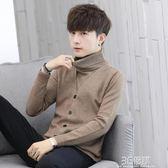 高領毛衣男韓版針織衫修身潮流假兩件帥氣男士秋冬季毛線衣外套 3c優購