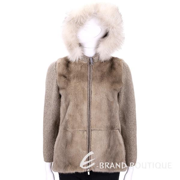 GRANDI furs 卡其色拼接毛草連帽外套 1540559-02