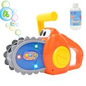 兒童吹泡泡玩具電動全自動泡泡機七彩燈光音樂趣味卡通電鋸泡泡機兒童玩具洗澡玩具