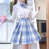 現貨快出 jk制服冰淇淋格裙原創白襯衫日系軟妹水手服百褶短裙班服