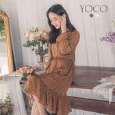 東京著衣【YOCO】可愛優選滿版愛心腰鬆緊荷葉高領長袖洋裝-S.M.L(182510)