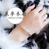 限時85折下殺手環歐美時尚氣質S925銀質交叉水晶花紋鋯石韓國精致女鑲手鍊