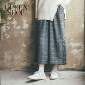 Queen Shop【04110154】鬆緊磨毛大格紋寬褲 兩色售 S/M*現+預*