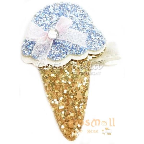 Cutie Bella冰淇淋甜筒全包布手工髮夾-Ice Cream Sparkle Bow-Blue