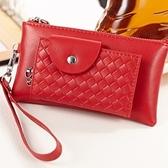 鑰匙包-真皮多功能錢包手拿包時尚編織紋男女皮套4色71b32【巴黎精品】