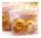 幸福朵朵【自黏OPP包裝袋(禮物包裝.烘焙點心包裝)A.粉底蕾絲點點款x10枚】西點糖果餅乾