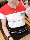 2018夏季男士短袖T恤韓版修身V領體桖純棉社會雞心領潮流上衣丅恤 依凡卡時尚