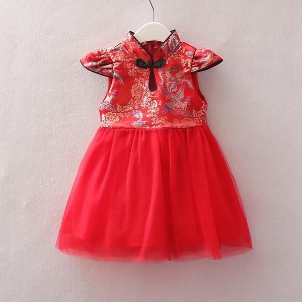 旗袍小包袖中國結拼接紗裙洋裝 連衣裙 旗袍裝 童裝 過年 週歲 大紅 新衣 喜酒 女童 拜年服 新年