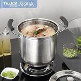 不銹鋼加厚復底燉鍋加厚22cm 韓國式特高湯鍋jy加高電磁爐煲湯鍋具 情人節禮物
