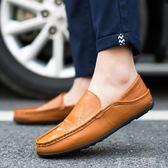 豆豆鞋男士一腳蹬懶人鞋PU皮開車鞋透氣軟底休閒鞋 千千女鞋