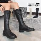 [Here Shoes] 4CM長靴 超纖皮革乳膠鞋墊 側拉鍊假綁帶設計 筒高38CM皮革厚底靴 騎士靴 膝下靴-KG8751-1