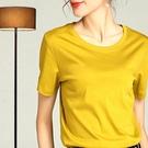 高端絲滑歐貨80支絲光棉短袖t恤女純棉高品質素色質感氣質上衣夏 童趣屋 免運