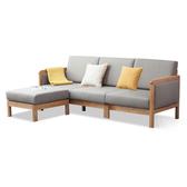 源氏木語鹿特丹橡木簡約布面實木框三人布沙發(含腳踏) 灰咖色 C61