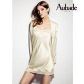 Aubade-Crepuscule 蠶絲S-XL細帶短襯裙(珍珠白)VI40