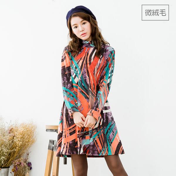 日本直送 韓國製 高領袖釦裝飾印花上衣洋裝-中大尺碼 獨具衣格