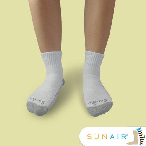 sunair 滅菌除臭襪子- 標準型運動襪1/2筒M(21~24.5) (白+淺灰) /SA2702