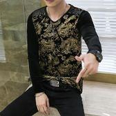 韓版 男士花色拼接金絲絨長袖t恤韓版民族花型打底衫v領印花長袖體恤男 韓先生