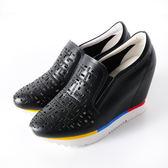 Clay Derman   鏤空晶鑽拼色內增高休閒鞋-黑