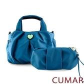CUMAR  輕量尼龍愛心logo手提斜背包-藍色(贈藍小包)