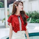 VK精品服飾 韓國風蕾絲蝴蝶結荷葉邊波點立領雪紡襯衫短袖上衣