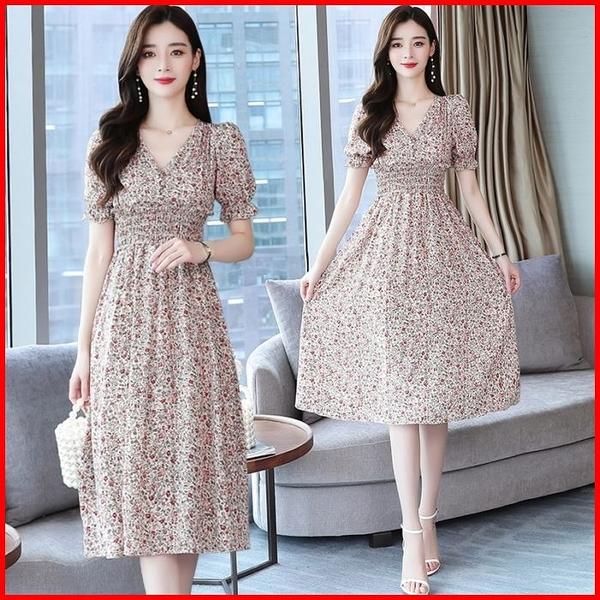 韓國風短袖洋裝 碎花連衣裙 氣質過膝收腰顯瘦短袖雪紡連身裙 依多多