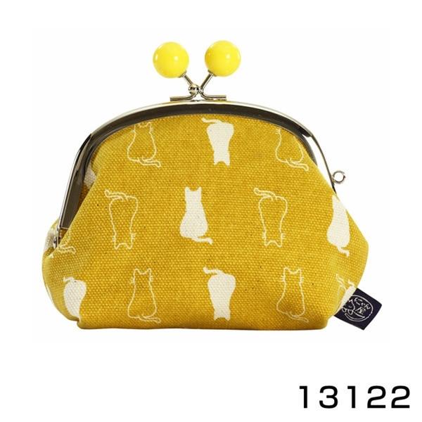 【日本製】 貓帆布系列 3.5寸萬用零錢口金包 親子貓咪圖案 芥末黃 SD-7048 - 日本製