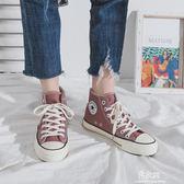 高筒帆布鞋女韓版百搭學生ulzzang潮ins板鞋港風鞋子春季新款  易家樂