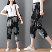 夏季新款復古文藝哈倫褲棉麻印花寬鬆休閒七分蘿卜褲顯瘦女褲 快速出貨