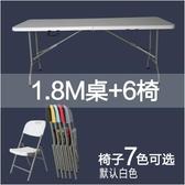 熊孩子❃折疊桌 戶外長桌子 簡易辦公桌 擺攤桌 便攜式會議桌 折疊餐桌椅(主圖款19)