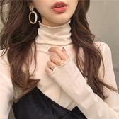 修身高領內搭長袖蕾絲打底衫女薄款網紗上衣春夏白色木耳邊T恤潮 雙11 伊蘿