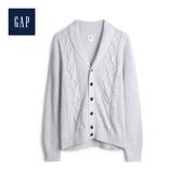 Gap男裝時尚絞花織紋翻領針織開衫528321-奶油色
