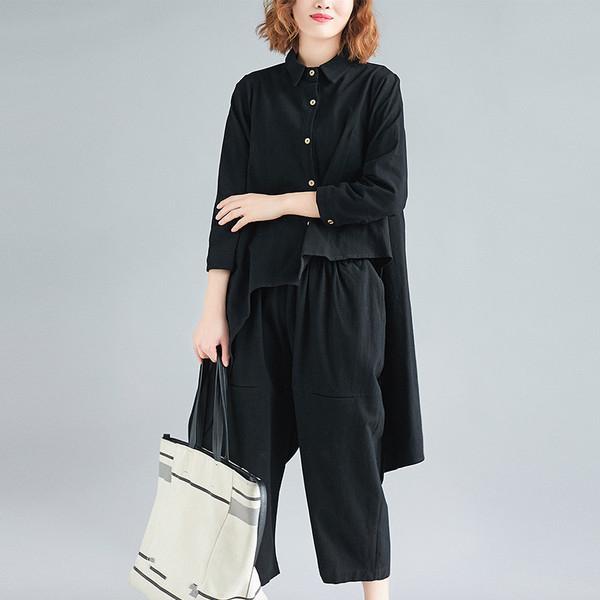 棉麻套裝女2019新款春季胖mm寬鬆文藝不規則上衣+垮褲時尚兩件套