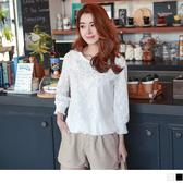 OB嚴選《AA8750-》素色滿版蕾絲珠珠點綴圓領上衣.2色--適 S~XL