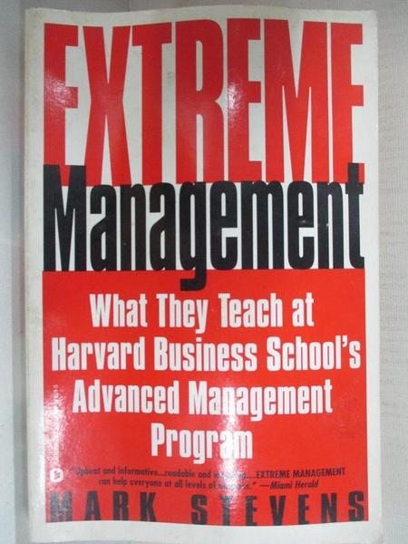 【書寶二手書T1/大學理工醫_CV6】Extreme Management: What They Teach…
