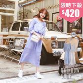 直條紋V領綁帶棉麻洋裝-I-Rainbow【A079973】