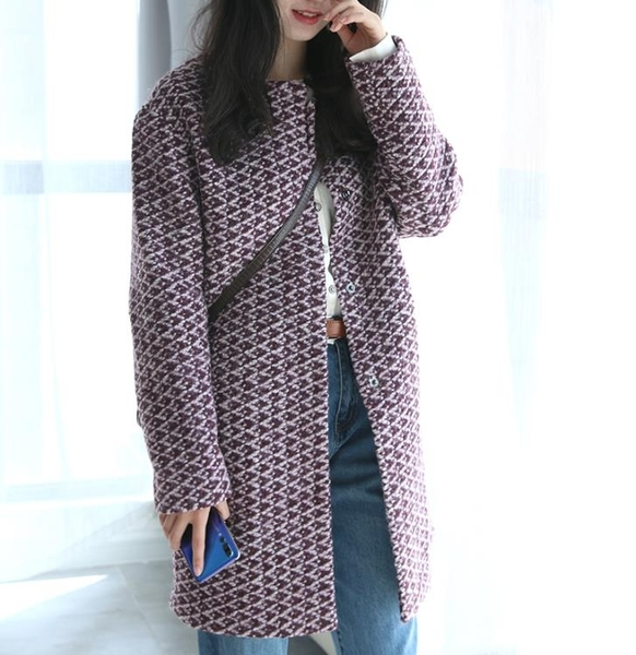 J家 經典線撤櫃系列 保暖厚實粗紡圓領繭型優雅混紫色羊毛大衣   koko時裝店