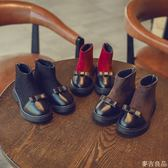 秋冬季新款兒童鞋子皮革拼接女童靴子公主靴寶寶短靴馬丁靴潮
