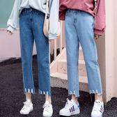 闊腿牛仔褲女夏春秋新款韓版寬鬆學生高腰破洞九分chic直筒褲 全館免運