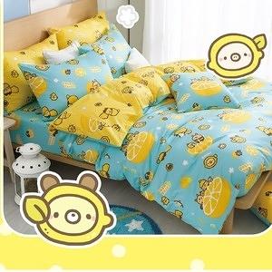 【BREAD TREE麵包樹】精梳棉雙人四件式兩用被床包組(檸檬派對)檸檬派對(藍綠)