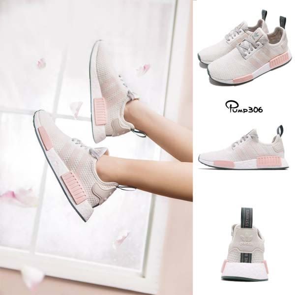 huge discount 6ab5e 05017 adidas NMD_R1 W 白 粉紅 粉色系 boost 襪套式 運動鞋 女鞋【PUMP306】 D97232
