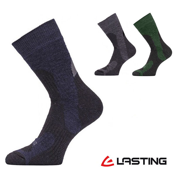 丹大戶外【LASTING】捷克羊毛厚中筒健行襪 LT-TRP 灰/墨綠/藍黑