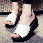 41碼/白色 坡跟一字拖鞋 女防滑厚底涼鞋【多多鞋包店】C0165