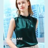 吊帶背心內搭醋酸緞面雪紡衫無袖素色上衣(五色S-2XL可選)/設計家 AL010006