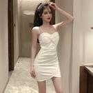 抹胸洋裝 氣質名媛修身顯瘦收腰吊帶小黑裙抹胸緊身顯瘦包臀連身裙-Ballet朵朵