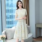 雪紡連衣裙女裝2021新款潮夏季名媛氣質女神范收腰顯瘦中長裙子 快速出貨
