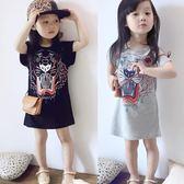 洋裝 夏季兒童虎頭長款T恤裙女童印花連身裙 巴黎春天