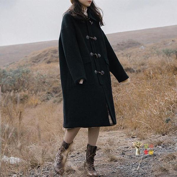 牛角釦大衣 2020年新款韓版溫柔系秋冬季雙面羊絨牛角釦外套女大衣中長款T