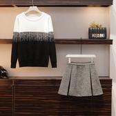 中大尺碼XL-5XL棉花糖秋裝新款大碼女胖妹妹洋氣撞色毛衣短裙兩件套1060 7536.4F096韓衣紡