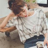 MUMU【T63707】休閒格子短袖襯衫。兩色